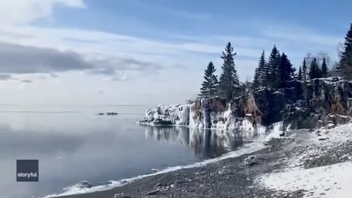 Sun Shines on Icy Lake Superior After Big Freeze