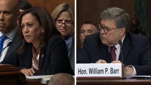 2019: Then-Senator Harris grills Barr on weather Trump ever asked him to investigate anyone