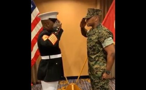 This military dad's emotional salute with his son is making men everywhere cry