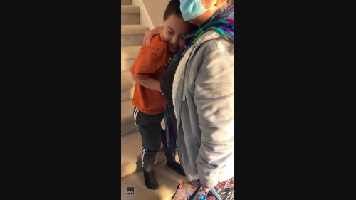 Grandmother Hugs Grandson Tight After Recovering From COVID-19