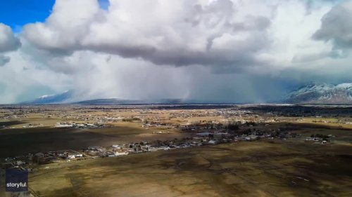 Drone Timelapse Captures Snow Squalls Rolling Over Utah Mountains