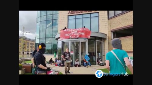 UK: Activists protest at AstraZeneca HQ calling for company to share COVID vaccine technology