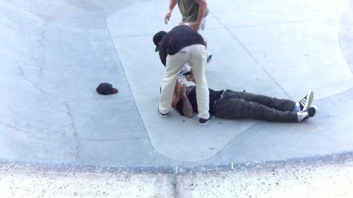 Skater Slams Ground Hard After Trick Attempt
