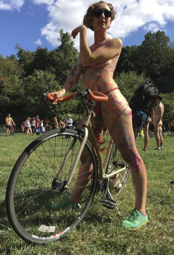 No shirts, pants or undies needed on bike ride, just a mask