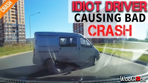 'Driver Hits Van taking a Sudden U-Turn on a Two-Way Street in Russia'