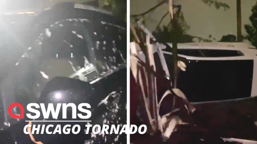 Severe thunderstorms brought a tornado to the DuPage County in Illinois, USA (RAW)