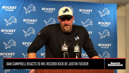 Dan Campbell Reacts to Record NFL Kick of Justin Tucker