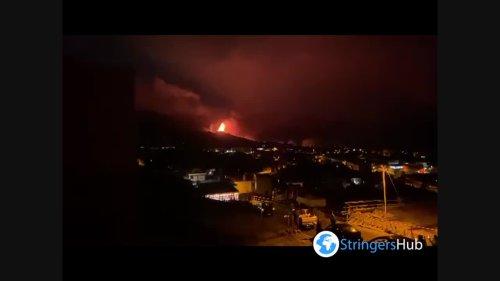 Night volcanic eruption on the island La Palma, Spain 1