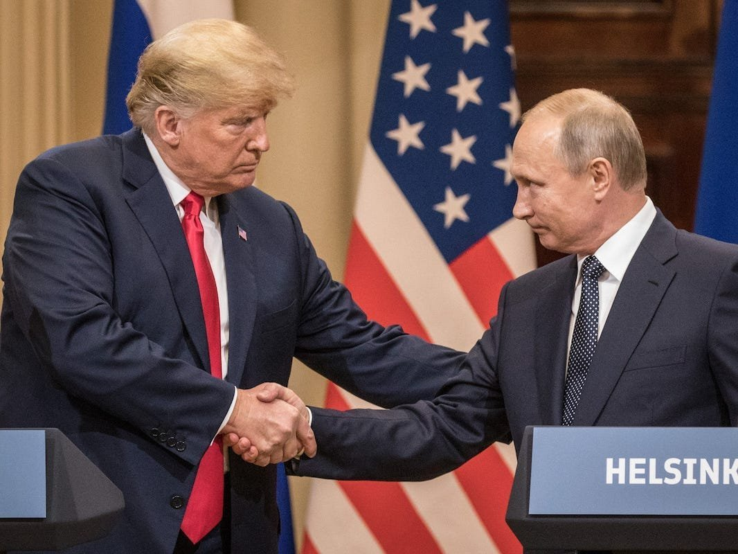 Fiona Hill recalled trying to cause a fire alarm at Trump's 'mortifying' joint press conference with Putin in Helsinki, and said it was a 'great idea' Biden isn't doing one