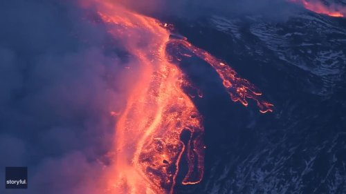 Lava Flows Following Eruption at Italy's Mount Etna Volcano