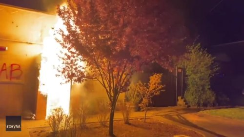 Portland Police Union Building Set Alight During Protests Over Daunte Wright Death