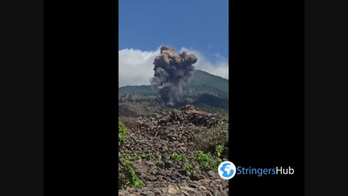 The beginning of a volcanic eruption in La Palma, Spain