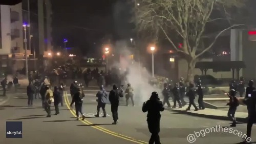 Tear Gas Deployed at Portland ICE Facility Protest
