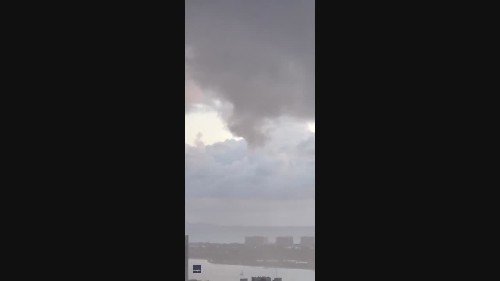 Rare Funnel Cloud Swirls Over Downtown San Diego