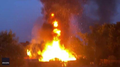 'Woah!' Explosion Shocks Onlooker as Building Burns in Cheshire