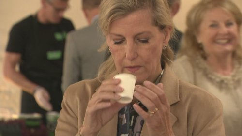 'That's quite strong!' Sophie sips whisky at food market