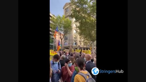 Hundreds of people protest in front of the Italian consulate in Barcelona, Spain 2