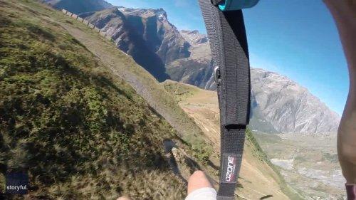Speed Flyer Pulls Off Ground-Hugging Alps Run