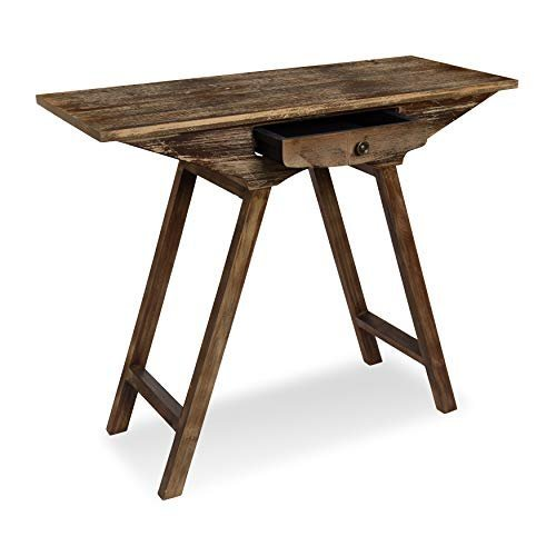 Rustic chic wooden console table with drawer