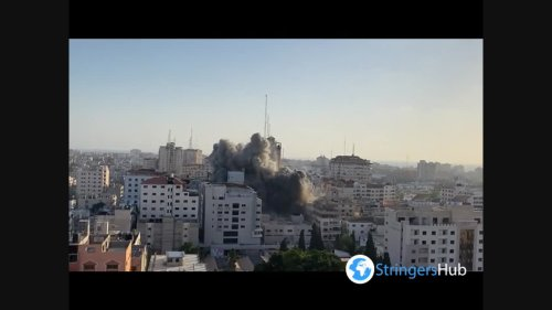Al-Shorouk Tower targeted in Gaza City by Israeli air forces