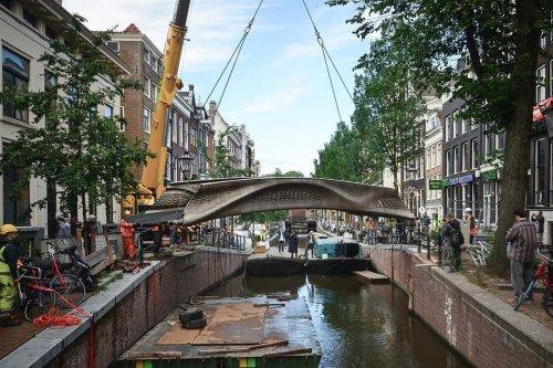World's first 3D-printed steel bridge opens in Amsterdam