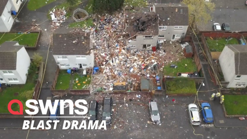Drone footage shows devastation after explosion injures four people in Scotland
