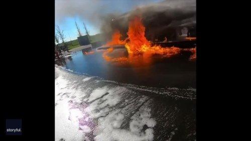 Dutch Firefighter Captures 'Firenado' During Training Session