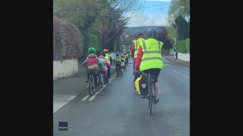 Cycling Kids Create Wheelie Adorable Traffic Jam on Dublin Road