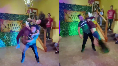 'Illinois parents perform a CRAZY dance routine at son's 6th birthday party'