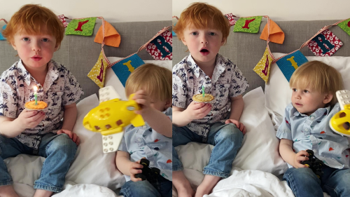 'Boy Blows Out Candle on Cupcake by Mistake (Disappointed)'
