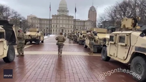 Humvees Line Michigan State Capitol Grounds Ahead of Anticipated Protests