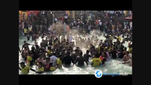 Bathing ceremony during religious festival Kumbh Mela in India