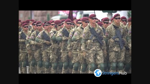 Soldiers of the Ukrainian army at the parade in Kyiv, Ukraine 2