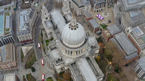 Cinematic Drone View of St. Paul's Cathedral