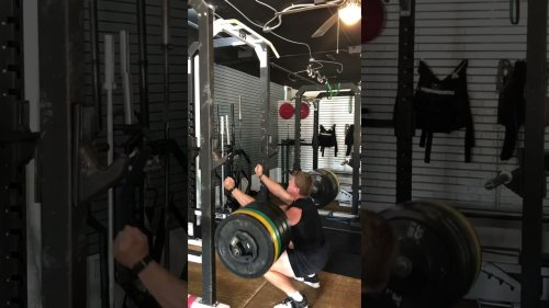 Weightlifter Gives All in Zombie Front Squat