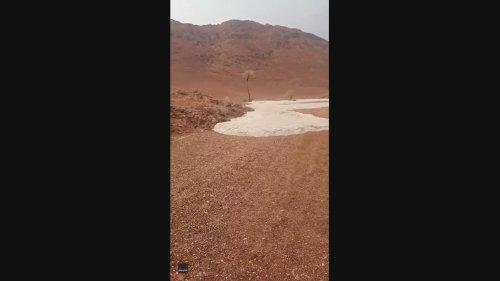 Icy Flash Flood Flows Through Saudi Desert After Downpour of Hail