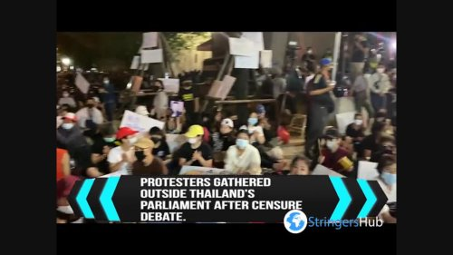 Thai protests outside parliament after PM survives vote in Bangkok