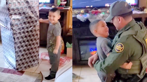 'Border Patrol Agent Reunites with Son after 9 Months'