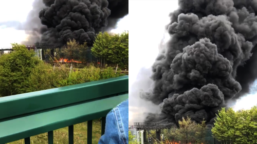 'Huge Fire Breaks Out at Scrapyard in Nottingham '