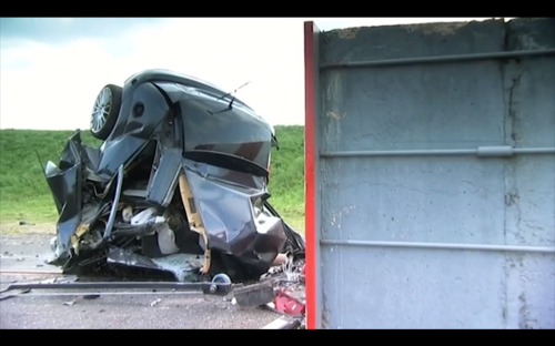 Watch this Ford Focus nearly disappear in extreme 120 MPH crash test