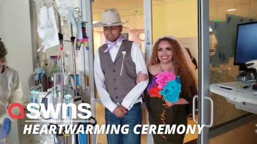 US hospital staff stage makeshift wedding to allow teenager who's battling cancer to walk mum down the aisle (RAW)
