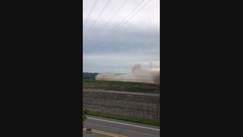 Dramatic Moment Smokestacks Collapse in West Virgina Power Plant Demolition