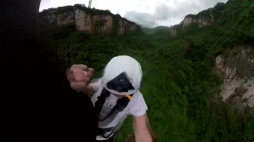 World's highest bungee jump from a footbridge