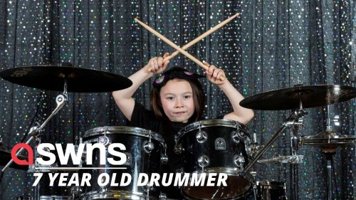 Seven-year-old UK schoolgirl who loves Def Leppard and Metallica is so talented at rock DRUMMING! (RAW)
