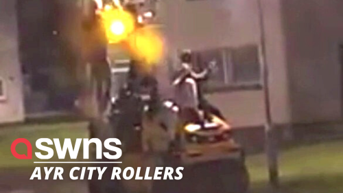 Footage shows teens joyriding steamroller through housing estate in Scotland