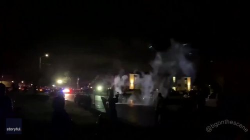 Fireworks Set off in Brooklyn Center as Police Pursue Daunte Wright Protesters