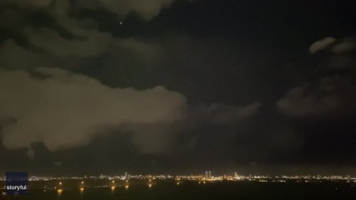Lightning Flashes Above Miami Amid Severe Storms