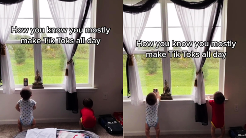 'Adorable twin babies copy mom by acting as if they are making a TikTok '