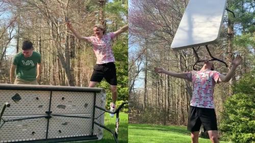 'Extreme Beer Pong Trick Shot Leaves Performers Surprised '