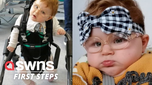 Toddler defied the odds to take her first steps after doctors told her she would never walk